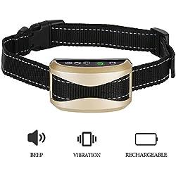 BeTwo Hundehalsband mit Vibration, Ton, Anti-Bell Erziehungshalsband Hundeerziehung Halsband 7 Empfindlichkeitsstufen Antibellhalsband Wiederaufladbare Einstellbar Hund Trainings Halsband