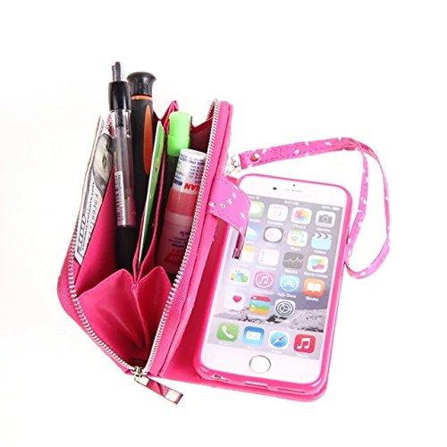 EKINHUI Case Cover Große Kapazitäts-Ahorn-Blumen-PU-lederner Kasten mit freistehender rückseitiger Abdeckung für iPhone 6 Plus u. 6s Plus ( Color : Gold ) Rose