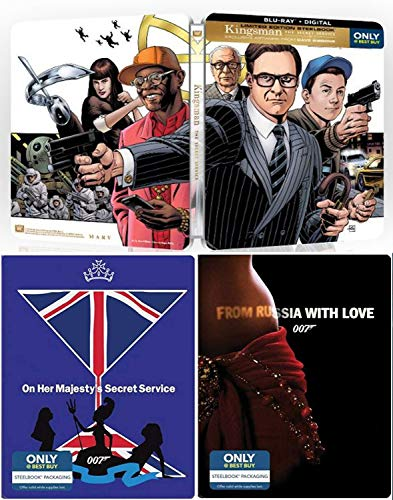 Super-Secret Organization Kingsman Service Sean Connery James Bond Steelbook Collection 007 Blu Ray Russia with Love & Majesties Secret Service film Action Movie Set