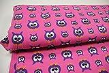 Stoff / 50cmx140cm / Kinder / beste Jersey-Qualität / Jersey Eule lila auf pink
