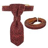 WONDERPUP British Style Krawatte Pet Halsband mit Leder Verstellbar Halsbänder für Welpen Katzen Kätzchen Leine Set