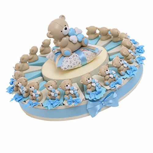 Torte bomboniere battesimo prima comunione nascita confettata alzatina statuina orsetti tenerorsi 20 pezzi (180161)