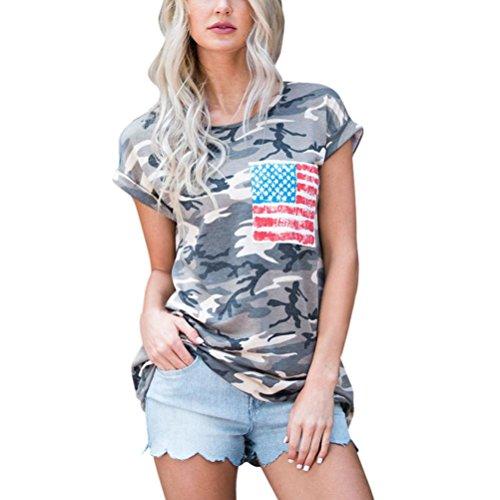 Damen Tops LSAltd Frauen Camouflage Kurzarm Bluse Casual Tops T-Shirt Mit Streifen Tasche (M) (Sport Bestickte Jersey Shirt)