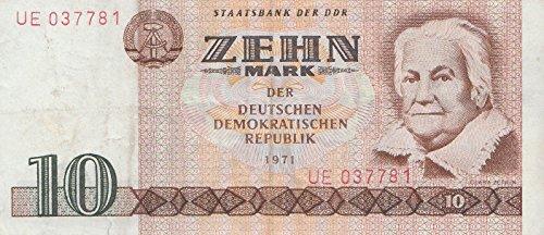 DDR Rosenbg: 359a, Kontrollnummer 6stellig, ab 1975 in Umlauf gebraucht (III) 1971 10 Mark (Banknoten für Sammler)
