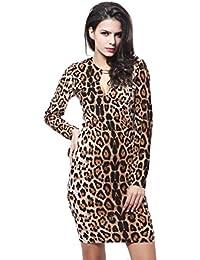 Neighbor Girl Leopard paquete atractivo de la cadera delgada vestido de manga larga