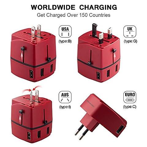 Adaptateur Voyage MILOOL avec 4 USB Adaptateur Chargeur International pour UK / EU / US / AUS Universel Chargeur de Voyage tout-en-un Multi-prise(rouge) …