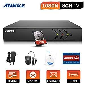 ANNKE 8CH TVI DVR Enregistreur HDMI/BNC/VGA QR Code Kit Sécurité VidéoSurveillance Accès à distance QR code Disque Dur de 1TB Pré-installé