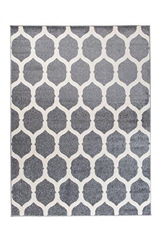 Tapiso Alfombra De Salón Moderna Colección Marroquí – Color Gris De Diseño Geométrico Enrejado – Mejor Calidad – Diferentes Dimensiones S-XXXL 200 x 290 cm