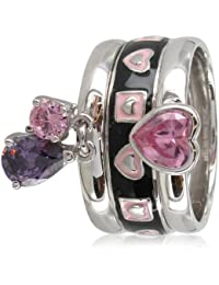 Stack Ring Co, Sterling Silver,Cicero, Rhodium Plated, Pink Cz Heart, Black And Pink Enamel Band, Purple Cz Charm Drop Sparkling Three Band Prima Stack Ring