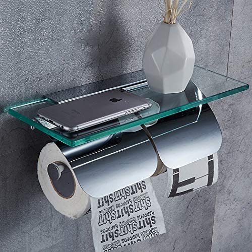 XMZFQ Toilettenpapierhalter Doppel mit Glasablage, Wandmontage, Massivem Messing + Glas, Poliertes Chrom, Einfacher Stil, Badezimmerzubehör