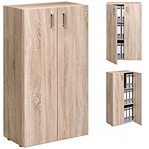 armoire avec 2 portes rangement meuble tag re module bureau commode 115 5cm ch ne fabriqu. Black Bedroom Furniture Sets. Home Design Ideas