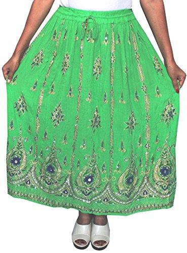 Lunga da donna Indian caviglia lunghezza India Clothing gonne paillettes Green 2