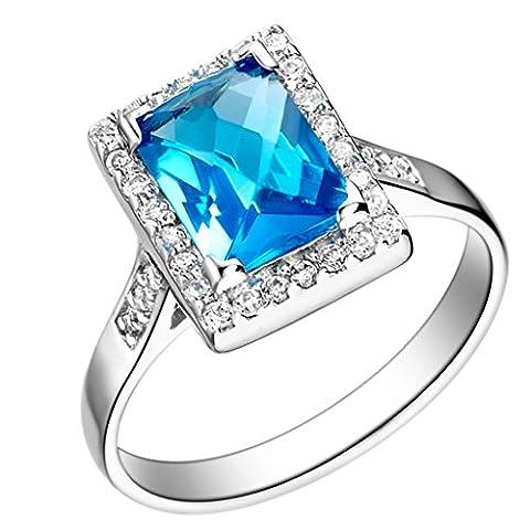 Epinki Damen Ringe 1 Pc, Versilbert Mode Schmuck Ring Damenringe Quartet Sapphire Antragsringe Gr. (Swarovski Sapphire Kreuz)