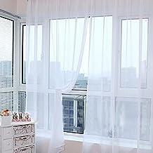 Vorhang Transparent, Lommer 2er 200x100CM Gardinen Set Fenstersiebung Voile  Schlaufenschal Tüll Fenster Vorhang Garn Mit