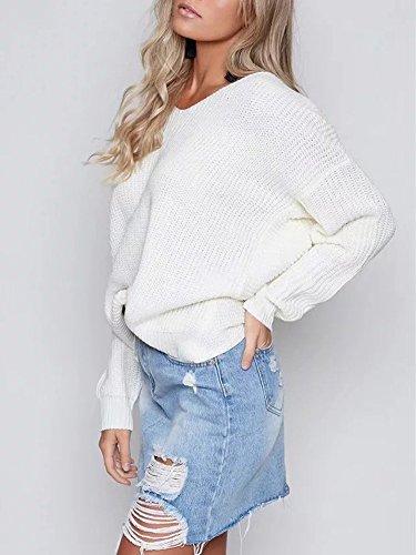 Minetom Damen Herbst Winter Sexy Rückenfrei Pullover Casual Loose V-Ausschnitt Langarm Sweater Jumper Strickwaren Weiß