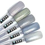 Color Gel 5er Set (je 5ml): Special Shimmer Nails - Gel Silber, Gel Silberglitter, Gel Silberglimmer