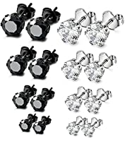 Sailimue 8 Pairs Stainless Steel Stud Earrings for Men Women CZ Earrings Set,3mm-6mm