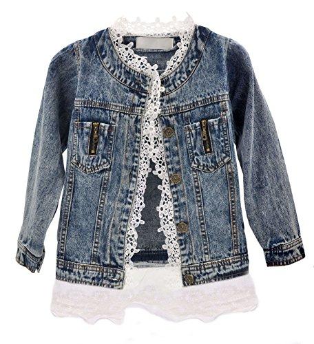 LOFIR Mädchen Jeansjacke mit Spitze Blume, niedlich und trendy gewaschen Jean Jacke Oberbekleidung (140CM)