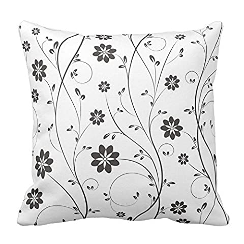 Dark Gray and White Flower Floral Pattern Zippered Pillow Cover Decorative Cushion Cover Pillowcase Unique Home