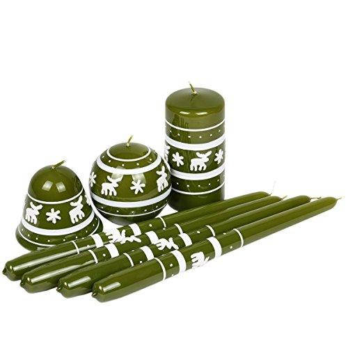Juego de 7unidades. verdes velas velas de Navidad verde Diseño de Reno de Navidad