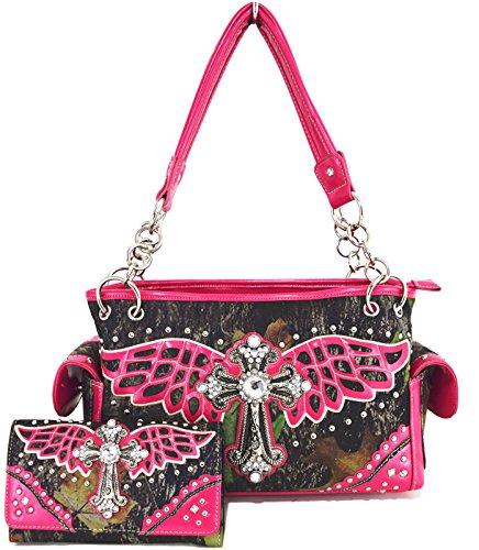 Blancho Bettwäsche Womens [Wing Cross] PU-Leder Tasche Set Elegante Brieftasche Hanbag Comobo Fashion Bag Fuchsia - Womens Designer-bettwäsche