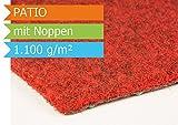 Premium Rasenteppich Kunstrasen Patio mit Noppen - Farbe Rot | Vliesrasen mit Drainage | Gesamthöhe ca. 7,5mm | Gewicht 1100g/m² | Pflegeleichte Strapazierfähig | Kunstrasenteppich - 2,00m x 1,00m