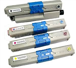 Set of 4 Compatible OKI C510 / C530 Laser Toner Cartridges. 1x Black - 44469804, 1x Cyan - 44469724, 1x Magenta - 44469723 & 1x Yellow - 44469722