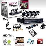 KIT VIDEOSORVEGLIANZA h264 CCTV 4 CANALI TELECAMERA INFRAROSSI DVR 4 CANALI - 4 ALIMENTATORI - 4 PROLUNGHE - HARD DISK 500 GB