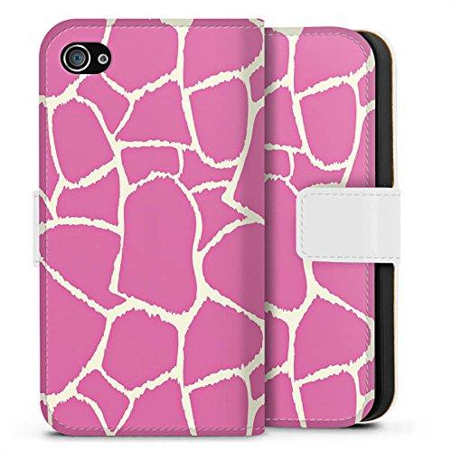 Apple iPhone X Silikon Hülle Case Schutzhülle Giraffe Pink Animal Print Sideflip Tasche weiß