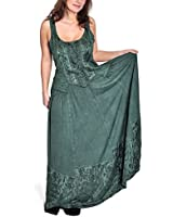 Medieval Dress Long Summer Garment with Straps Front Lacing Elegant Embroideries Green
