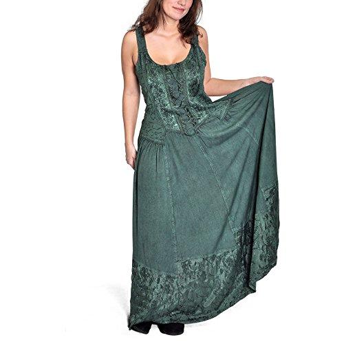 Mittelalter Kleid lang sommerliches Gewand mit Trägern Frontschnürung edle Stickereien grün - ()