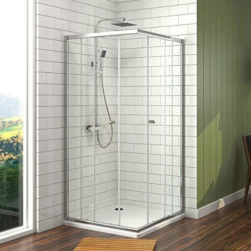 Meykoe Duschkabine 75x100x185cm Duschabtrennung Eckeinstieg mit Schiebetür ESG Echtglas Doppel Duschtür