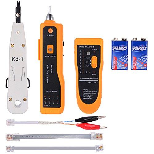 Zacro Netzwerk Kabeltester Kabelfinder RJ45 / RJ11 Finder für Telefonkabel und LAN-Kabel Leitungsdetektor Emitter und Receiver,(Gelb) Zusätzliches LSA-Plus Auflegewerkzeug, Anlegewerkzeug (Weiß)