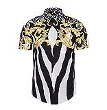 Camisas Hombre Verano Elegantes Manga Corta Cuello Solapa Un Solo Pecho Blusas Street Style Hipster Vintage Impresión Camisa Tops