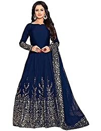 Queen of India Women's Taffeta Silk Embroidered Semi-Stitched Anarkali Gown (QUEEN SSD67, Blue, Free Size)