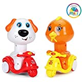 Smiles Creation Scooter Rider Cartoon Bird and Doggie with Press and Go Function
