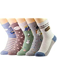 Novedad calcetines de algodón Crew Unicorn Owl Cat Farm Princesa Mermaid Socks- Paquete de 5