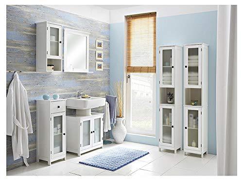 PELIPAL - Maxim 12 - Badmöbel-Set - 60 cm - 7-teilig Badset Komplettset stehend mit Spiegel Keramik-Waschtisch usw. - Landhausstil - in weiß Glas/weiß
