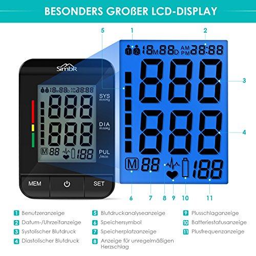 SIMBR Oberarm-Blutdruckmessgerät Vollautomatisch mit Hintergrundbeleuchtung 180 Speicherplätze für Zwei Benutzer Höher Genäuigkeit - 3