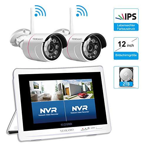 1080P Überwachungskamera Set mit 12 Zoll Monitor 2STK 1080P Überwachungskamera Aussen WLAN, YESKAMO Videoüberwachung NVR Funk Überwachungssystem mit 2TB Festplatte, 30m Nachtsicht, Bewegungserkennung