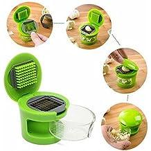 YQing Práctico Cocina Hogar Kit Herramientas Ajo Prensa Picador Mano De La Máquina De Cortar Prensatelas ajo Triturador (Color Verde)