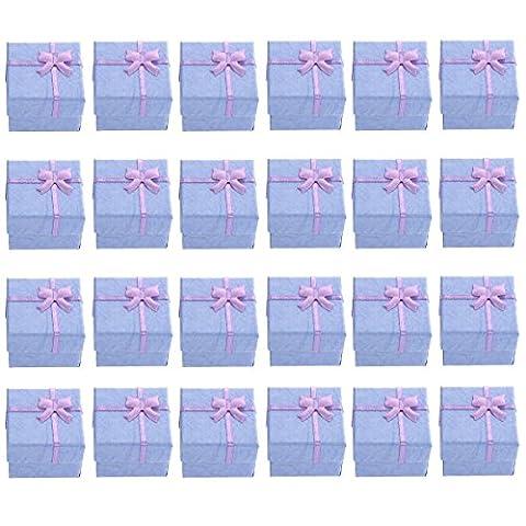Aufbewahrungsboxen Geschenkboxen mit Schleife für Ohrringe, Armbänder, Halskette oder anderen Schmuck, Maße: 4 x 4 x 3 cm, 24 Stück