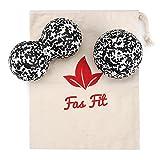 Faszienball Duo Set: Einzel- und Duoball + Baumwolltasche + Farbiges, 16seitiges Übungsheft und eBook (Schwarz/Weiß - Härtegrad: Mittel bis Hart)