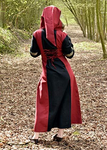 Mittelalterkleid Eleanor mit Kapuze, rot/schwarz – Mittelalter Kleid, LARPkleid, Wikingerkleid Größe M - 4