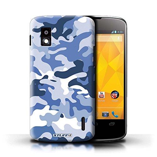 Kobalt® Imprimé Etui / Coque pour LG Nexus 4/E960 / Blanc 4 conception / Série Armée/Camouflage Bleue 1