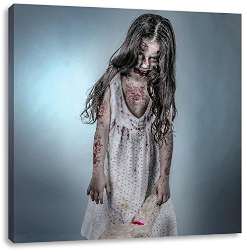 (Kleines gruseliges Mädchen mit Teddy, Format: 60x60 auf Leinwand, XXL riesige Bilder fertig gerahmt mit Keilrahmen, Kunstdruck auf Wandbild mit Rahmen, günstiger als Gemälde oder Ölbild, kein Poster oder Plakat)