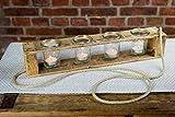 Zu Ostern, Hochzeit, Geburtstag Teelichthalter aus Altholz Holz von Obstkiste mit 4 Gläsern und Tau, Handgefertigt, Windlicht, Kerzenhalter, Laterne, Vintage, Upcycling - 3