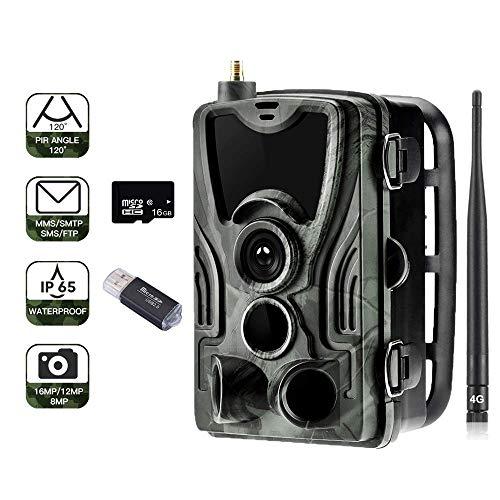 "SUNTEKCAM 4G Wildkamera 20MP 1080P Trail camere MMS Wildkamera (4G 3G GSM) Jagdkamera, 0,3s Auslösezeit, Infrarote 30m 940nm IR LED IP65 Wasserdicht 2.4"" Bildschirm(SD Card Included) 801LTE Plus APP"
