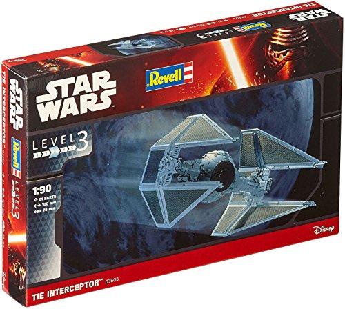 Revell Modellbausatz Star Wars TIE Interceptor im Maßstab 1:90, Level 3, originalgetreue Nachbildung mit vielen Details, einfaches Kleben und Bemalen, 03603