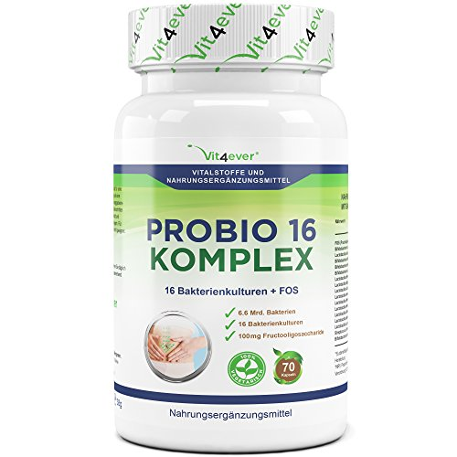 Probio 16 Komplex – 16 widerstandsfähige Bakterienkulturen + FOS – Hochdosiert mit 6.6 Milliarden Bakterien pro Tag – 70 Kapseln – Milchsäurebakterien – selektierte